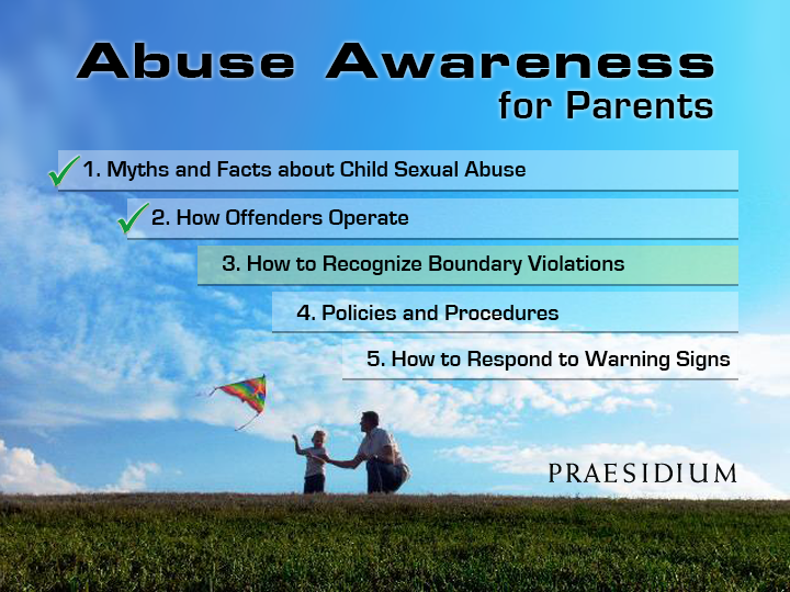 Abuse Awareness for Parents e-learning course menu