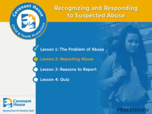 Covenant House Suspected Abuse e-learning course menu