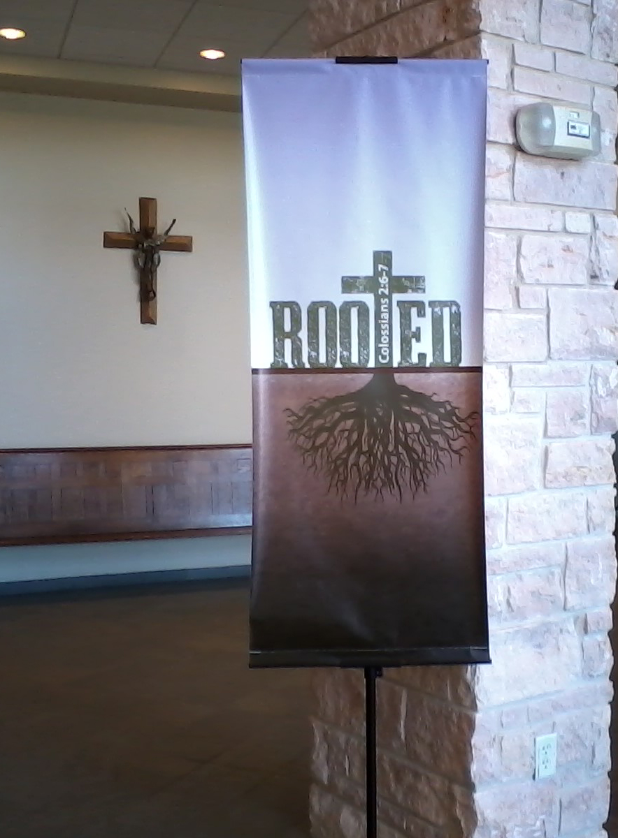 'Rooted' banner in the Welcome Center
