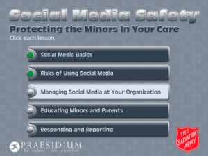 Salvation Army: Social Media Safety e-learning course menu