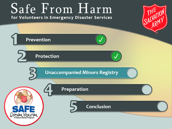 Salvation Army: Safe From Harm e-learning course menu